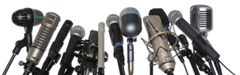 Microphones Over White Background